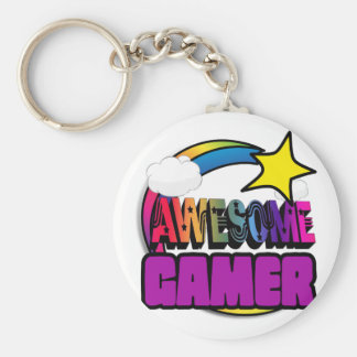 Shooting Star Rainbow Awesome Gamer Keychain