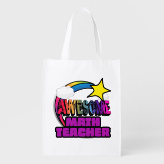 Shooting Star Rainbow Awesome Math Teacher Reusable Grocery Bag