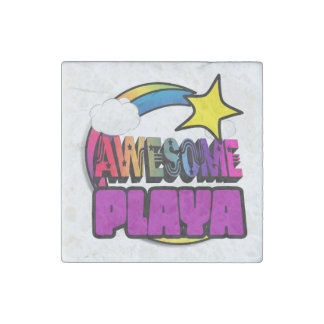 Shooting Star Rainbow Awesome Playa Stone Magnet