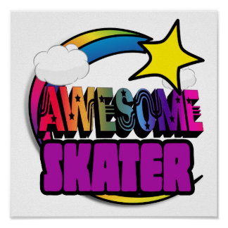 Shooting Star Rainbow Awesome Skater Poster