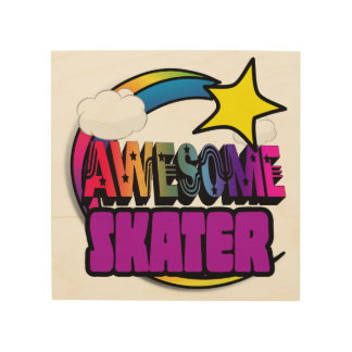 Shooting Star Rainbow Awesome Skater Wood Print