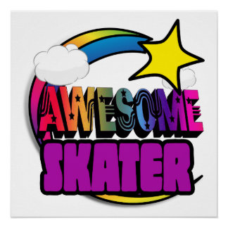 Shooting Star Rainbow Awesome Skater Perfect Poster