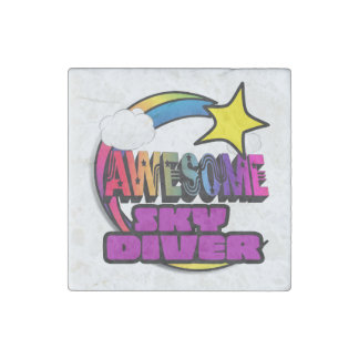 Shooting Star Rainbow Awesome Sky Diver Stone Magnet