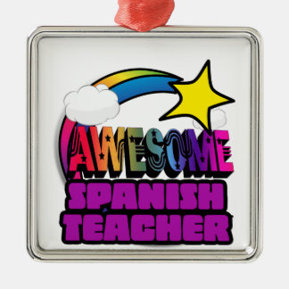 Shooting Star Rainbow Awesome Spanish Teacher Silver-Colored Square Decoration