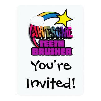 Shooting Star Rainbow Awesome Teeth Brusher 14 Cm X 19 Cm Invitation Card