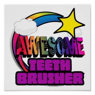 Shooting Star Rainbow Awesome Teeth Brusher Posters