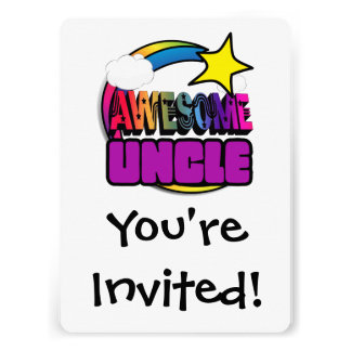 Shooting Star Rainbow Awesome Uncle Personalized Announcements
