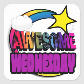 Shooting Star Rainbow Awesome Wednesday Square Stickers