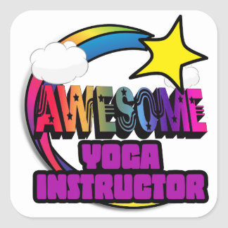 Shooting Star Rainbow Awesome Yoga Instructor Square Sticker