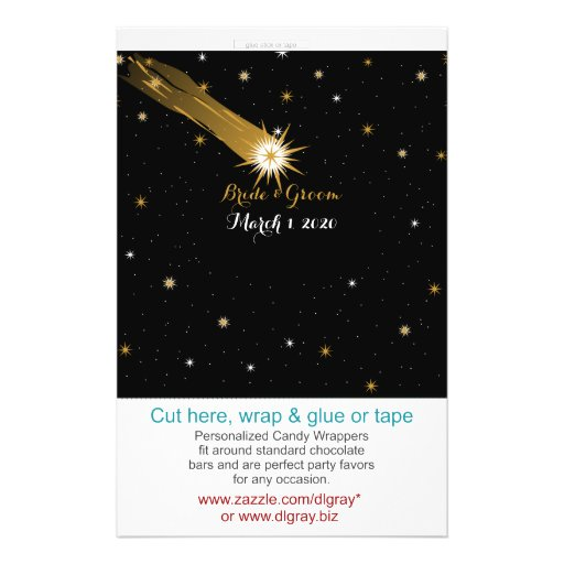 Shooting Star Romantic Wedding Candy Wrappers Flyers