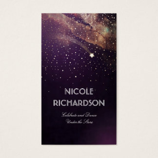 Shooting Star Starry Night Gold and Plum Modern Business Card