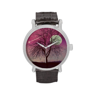 Shooting star, Tree silhouette, Harvest moon Watch