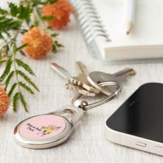 Shop-A-Holic Chick Silver-Colored Oval Key Ring