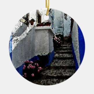 Shop and Steps in Obidos Portugal Christmas Ornament