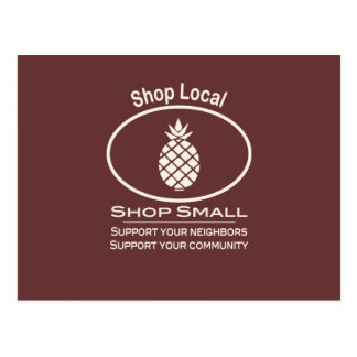 Shop Local, Shop Small cream pineapple Postcard