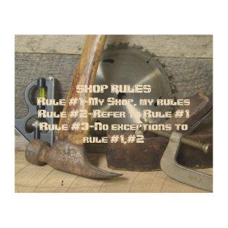 """""""Shop Rules"""" Wood Sign Wood Print"""