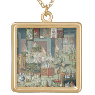Shop Selling Chinese Goods, mid-18th century (cera Square Pendant Necklace