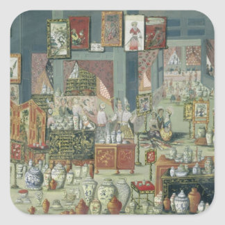 Shop Selling Chinese Goods, mid-18th century (cera Square Sticker