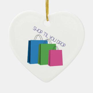 Shop Til You Drop Double-Sided Heart Ceramic Christmas Ornament