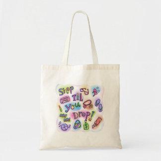 Shop til you drop tote budget tote bag