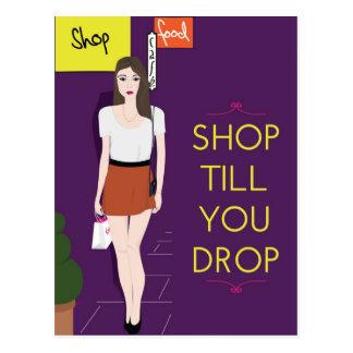 Shop till you drop postcard