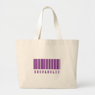 shopaholic barcode design large tote bag