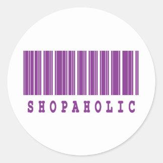 shopaholic barcode design round sticker