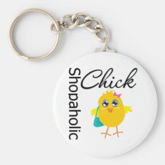 Shopaholic Chick 1 Basic Round Button Key Ring
