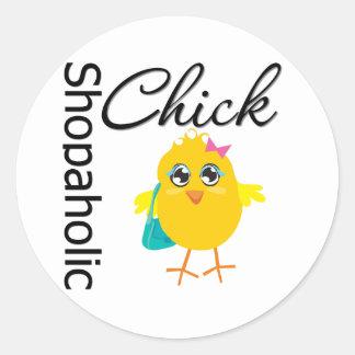 Shopaholic Chick 1 Round Stickers
