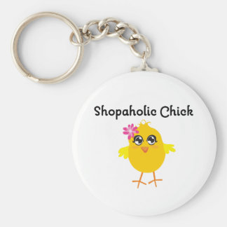 Shopaholic Chick Basic Round Button Key Ring
