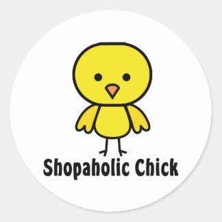 Shopaholic Chick Round Stickers