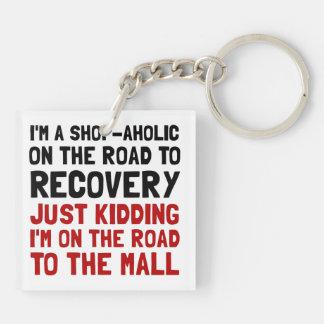 Shopaholic Double-Sided Square Acrylic Key Ring