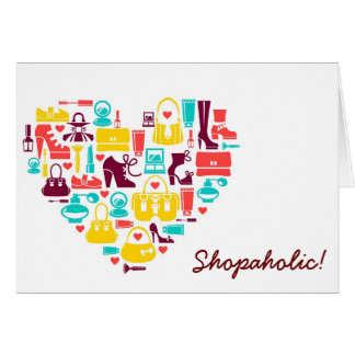 Shopaholic (heart) Customizable Greeting Card