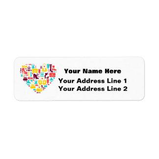 Shopaholic (heart) Customizable Return Address Label