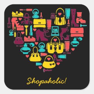 Shopaholic heart Customizable Square Sticker