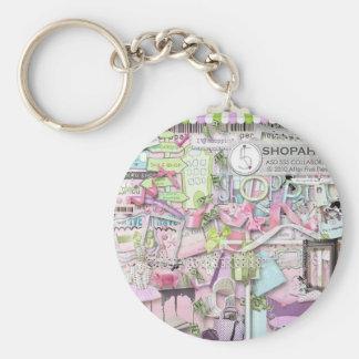 shopaholic keyring basic round button key ring
