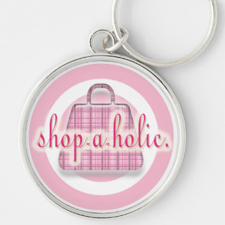 Shopaholic Silver-Colored Round Key Ring