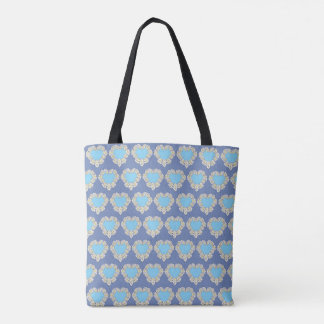 Shopping back with heart design tote bag