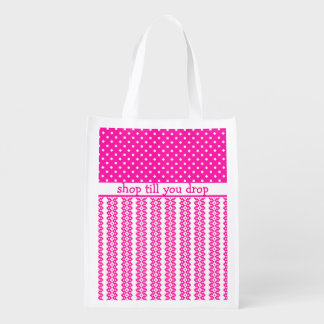 Shopping Bag: Candy Pink Geometric to Personalize