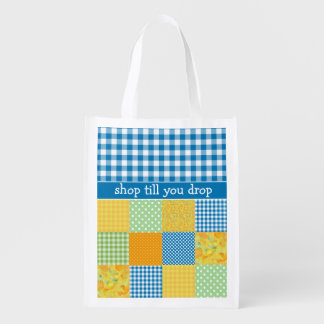 Shopping Bag: Faux Patchwork, Blue Check Gingham Grocery Bags
