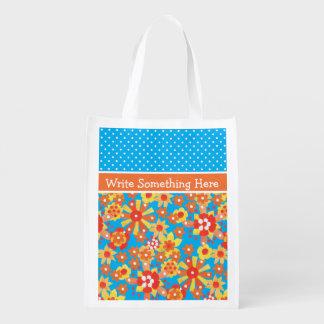 Shopping Bag: Orange Ditsy Flowers and Polka Dots Reusable Grocery Bag