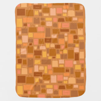 Shopping bags pattern, autumn colors baby blanket