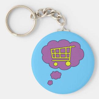 shopping basic round button key ring