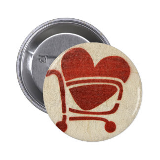 Shopping Cart Heart 6 Cm Round Badge