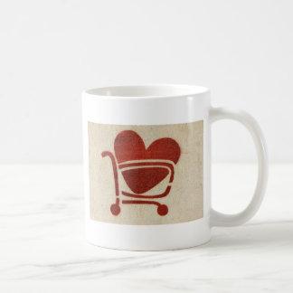 Shopping Cart Heart Basic White Mug