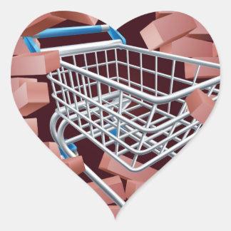 Shopping Cart Trolley Breaking Wall Heart Sticker