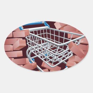 Shopping Cart Trolley Breaking Wall Oval Sticker