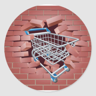 Shopping Cart Trolley Breaking Wall Round Sticker