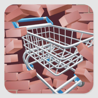 Shopping Cart Trolley Breaking Wall Square Sticker