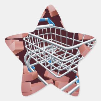 Shopping Cart Trolley Breaking Wall Star Sticker